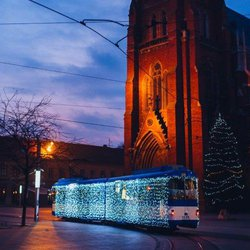 Reciters from Vojvodina riding the Christmas tram